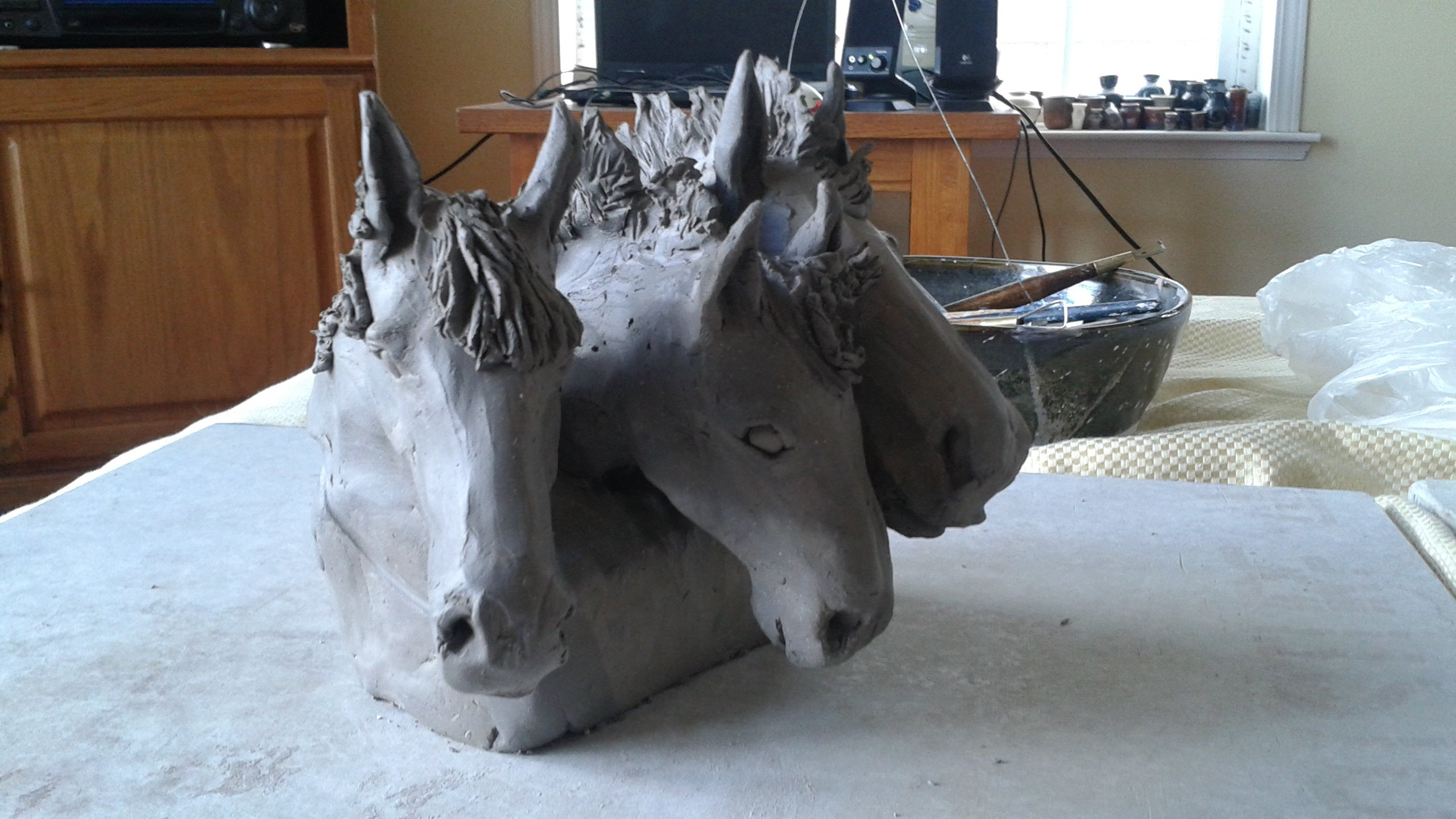 Horse and livestock clay sculpture-3sisters3.jpg