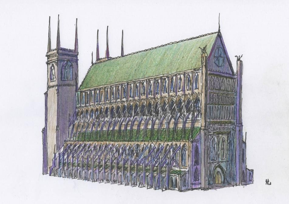 Click Image For Larger Version Name Cathedral Hand Drawn Views 2291 Size