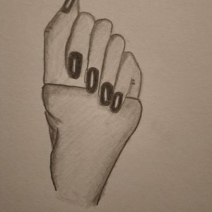 Sketch of a hand using pencil